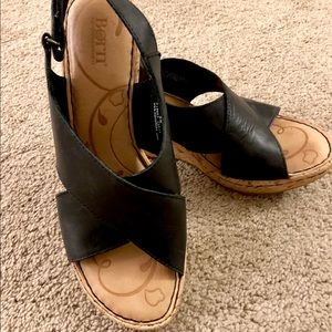 Born Cork Wedge Sandals Black Leather
